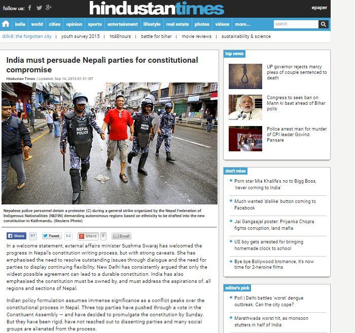 भारतीय अखबारको सम्पादकीय- नेपालमा भारतले हस्तक्षेप गर्नु पर्छ
