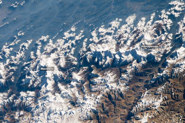 Annapurna and Manaslu from Space