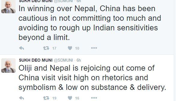 SD Muni Twitt on Oli China visit