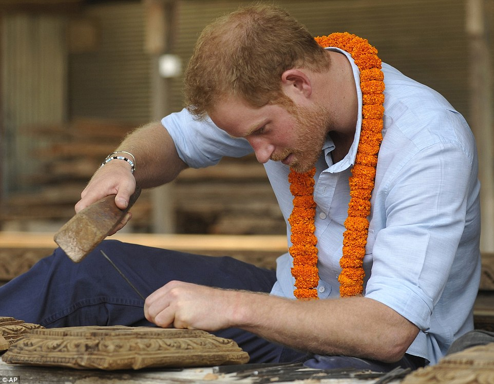 Prince Harry received to warm reception in Bhirkuna