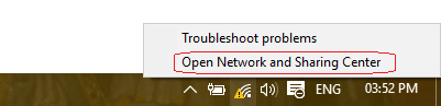Network and Sharing Center right click
