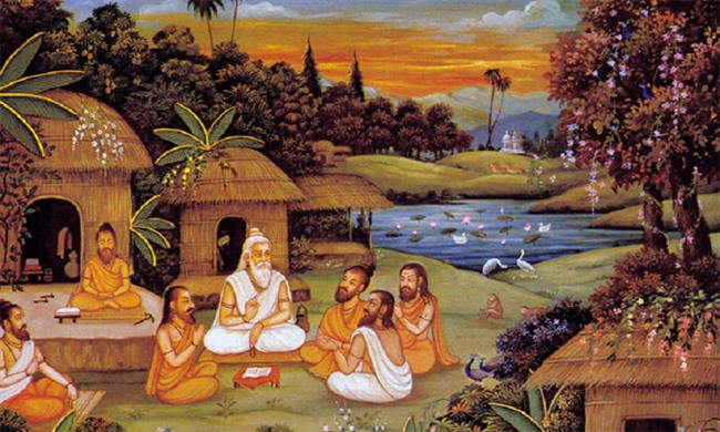 Vedvyas teaching Vedas to his Four Deciples