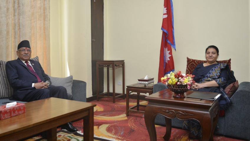 PM Dahal and President Bhandari discuss political developments