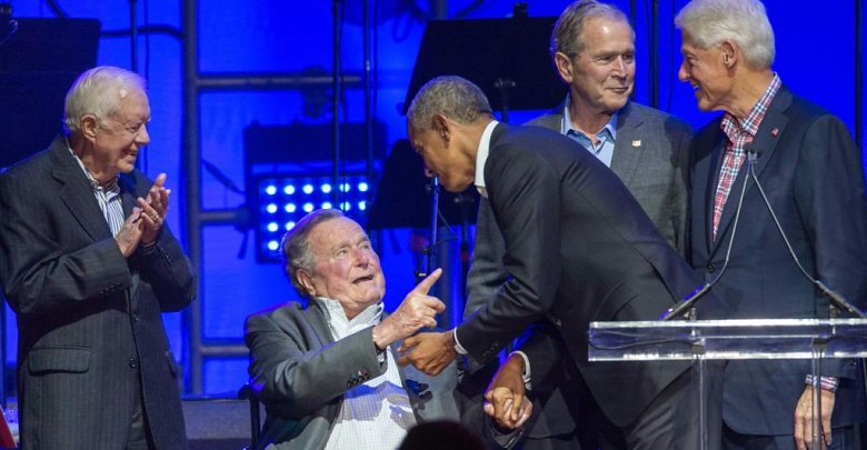 Five former U.S. presidents appear together for hurricane aid