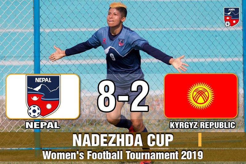 नदेज्दा कप फुटबलः किर्गिस्तानविरुद्ध नेपालकाे सानदार जित
