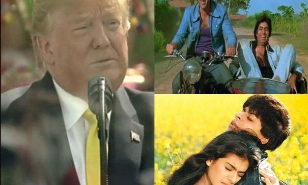 भारत भ्रमणमा ट्रम्पः बलिउडका 'डीडीएलजे' र 'शोले'को तारिफ